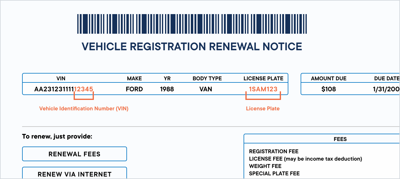 Vehicle registration renewal notice paper copy cropped